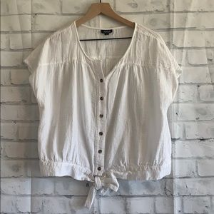 A.N.A button up tie white blouse